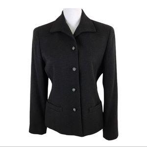 Liz Claiborne Wool Blend Blazer Jacket Black 6